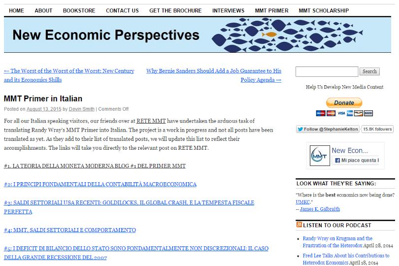 Primer MMT in italiano su New Economic Perspectives