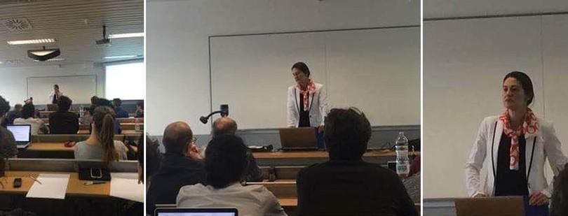 """Pavlina Tcherneva durante il seminario """"Eurozone in Crisis"""" all'Università di Bergamo"""