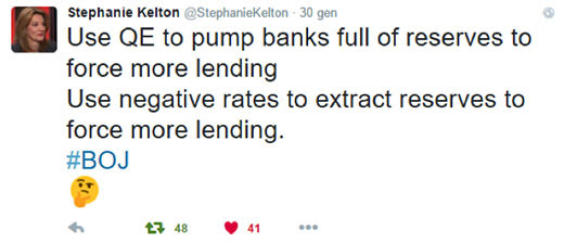 """Stephanie Kelton tweets: """"Use QE to pump banks full of reserves to force more lending. Use negative rates to extract reserves to force more lending. #BOJ :- """""""