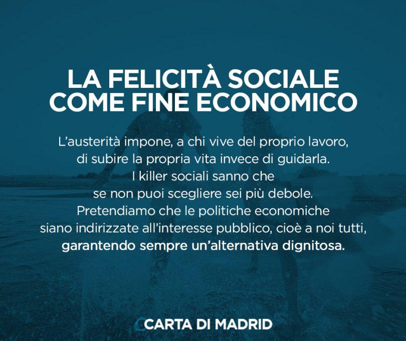 La Carta di Madrid: LA FELICITÀ SOCIALE COME FINE ECONOMICO