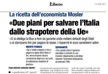 Intervista a Warren Mosler su Libero: i 2 piani per salvare l'Italia