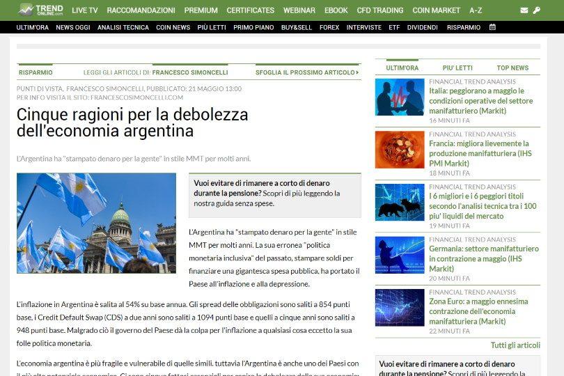 Cinque ragioni per la debolezza dell'economia argentina