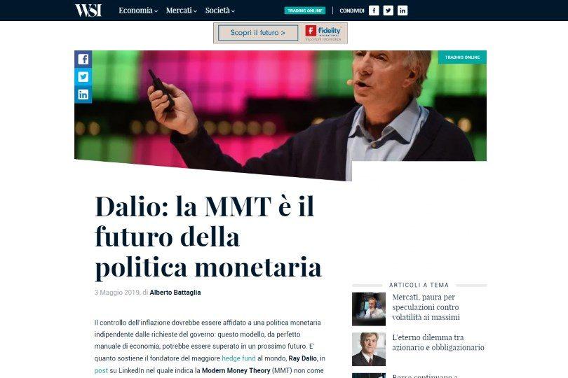 Dalio: la MMT è il futuro della politica monetaria