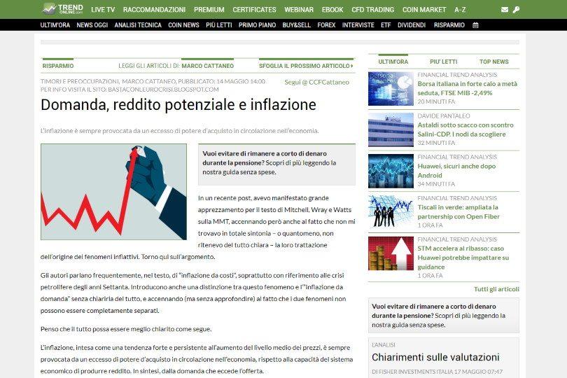 Domanda, reddito potenziale e inflazione