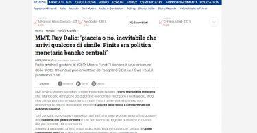 MMT, Ray Dalio: 'piaccia o no, inevitabile che arrivi qualcosa di simile. Finita era politica monetaria banche centrali'