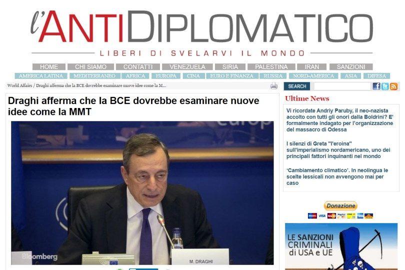 Draghi afferma che la BCE dovrebbe esaminare nuove idee come la MMT