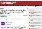 Mario Draghi afferma che la Bce potrebbe esaminare nuove idee come la MMT