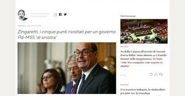 Zingaretti, i cinque punti rivisitati per un governo Pd-M5S 'di sinistra'