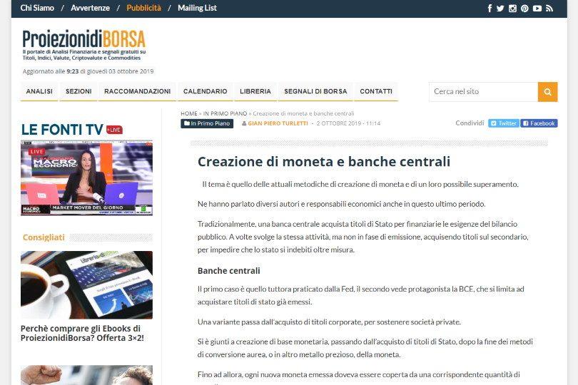 Creazione di moneta e banche centrali