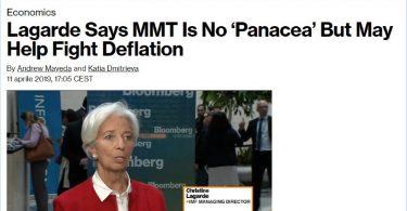 """Lagarde sostiene che la MMT non è una """"panacea"""" ma può aiutare a combattere la deflazione"""