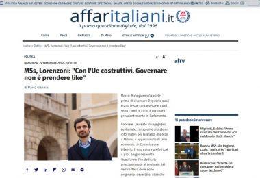 """M5s, Lorenzoni: """"Con l'Ue costruttivi. Governare non è prendere like"""""""