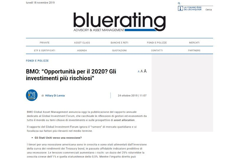 """BMO: """"Opportunità per il 2020? Gli investimenti più rischiosi"""""""