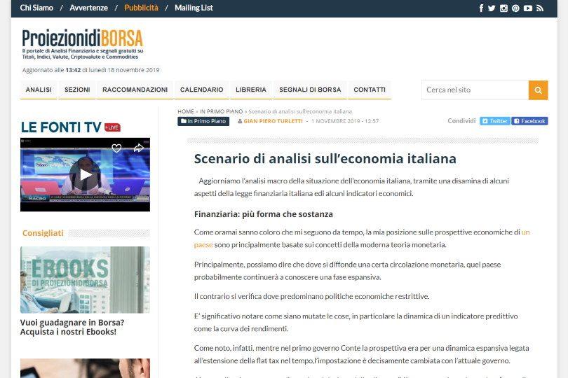 Scenario di analisi sull'economia italiana