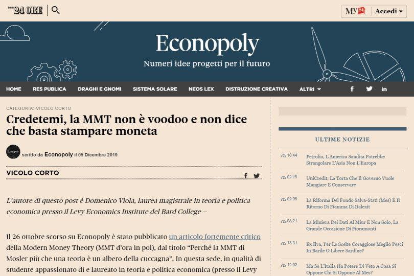 Credetemi, la MMT non è voodoo e non dice che basta stampare moneta