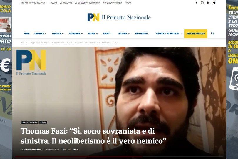 """Thomas Fazi: """"Sì, sono sovranista e di sinistra. Il neoliberismo è il vero nemico"""""""