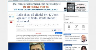 Italia choc, pil giù del 6%. L'Ue: sì agli aiuti di Stato. Conte chiede i virusbond