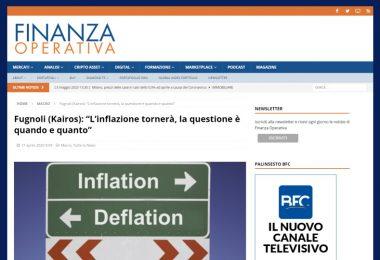 "Fugnoli (Kairos): ""L'inflazione tornerà, la questione è quando e quanto"""