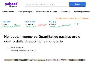 Helicopter money vs Quantitative easing: pro e contro delle due politiche monetarie