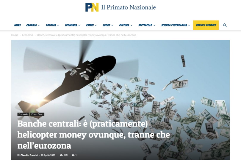 Banche centrali: è (praticamente) helicopter money ovunque, tranne che nell'eurozona
