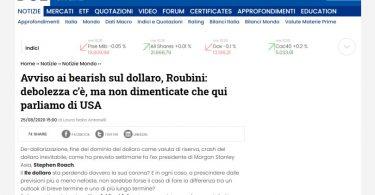 Avviso ai bearish sul dollaro, Roubini: debolezza c'è, ma non dimenticate che qui parliamo di USA