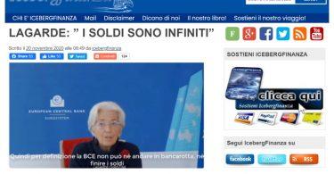 """Lagarde: """"I soldi sono infiniti"""""""