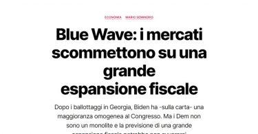 Blue Wave: i mercati scommettono su una grande espansione fiscale