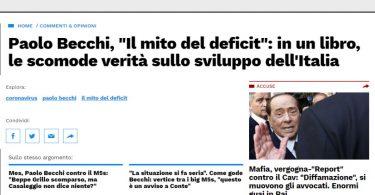 """Paolo Becchi, """"Il mito del deficit"""": in un libro, le scomode verità sullo sviluppo dell'Italia"""