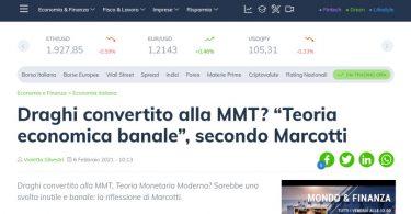 """Draghi convertito alla MMT? """"Teoria economica banale"""", secondo Marcotti"""