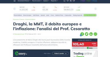 Draghi, la MMT, il debito europeo e l'inflazione: l'analisi del Prof. Cesaratto