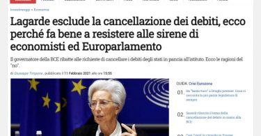 Lagarde esclude la cancellazione dei debiti, ecco perché fa bene a resistere alle sirene di economisti ed Europarlamento