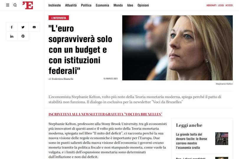 """""""L'euro sopravviverà solo con un budget e con istituzioni federali"""""""
